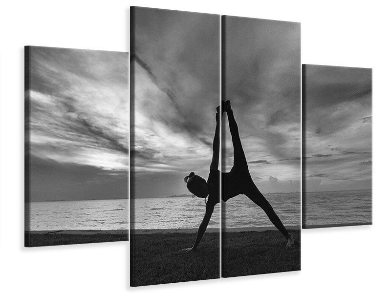 Leinwandbild 4-teilig Yoga am Strand