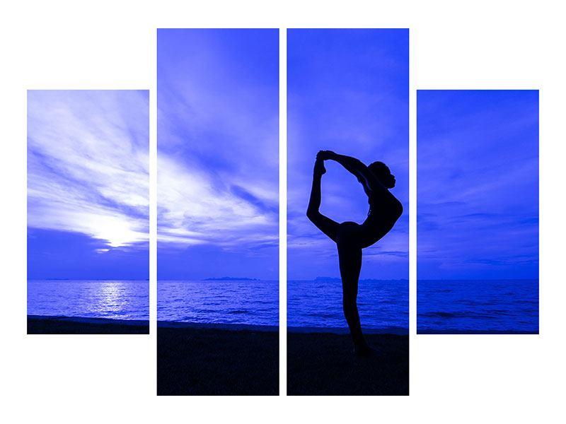Leinwandbild 4-teilig Yogaübung am Strand