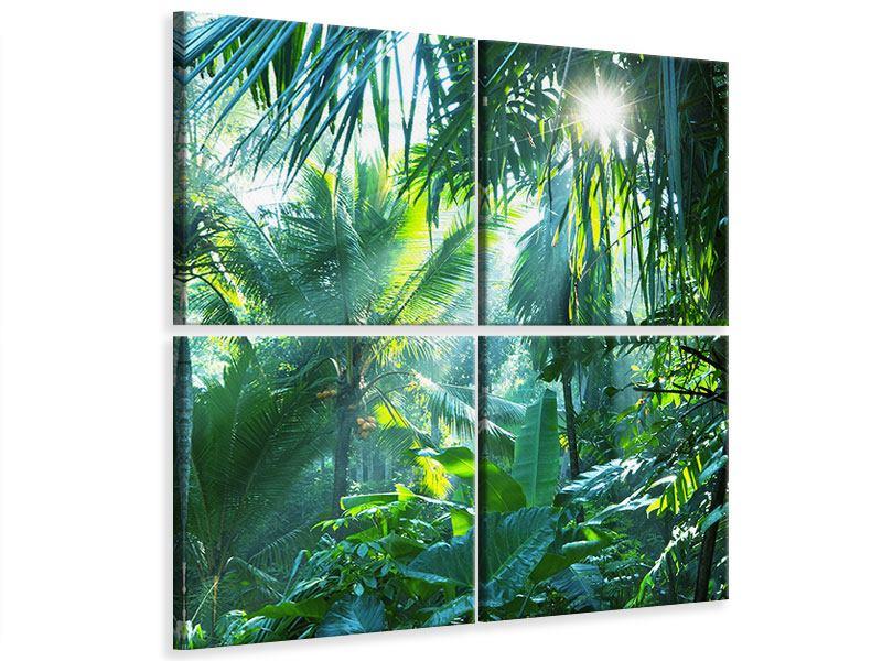 Leinwandbild 4-teilig Im Tropenwald