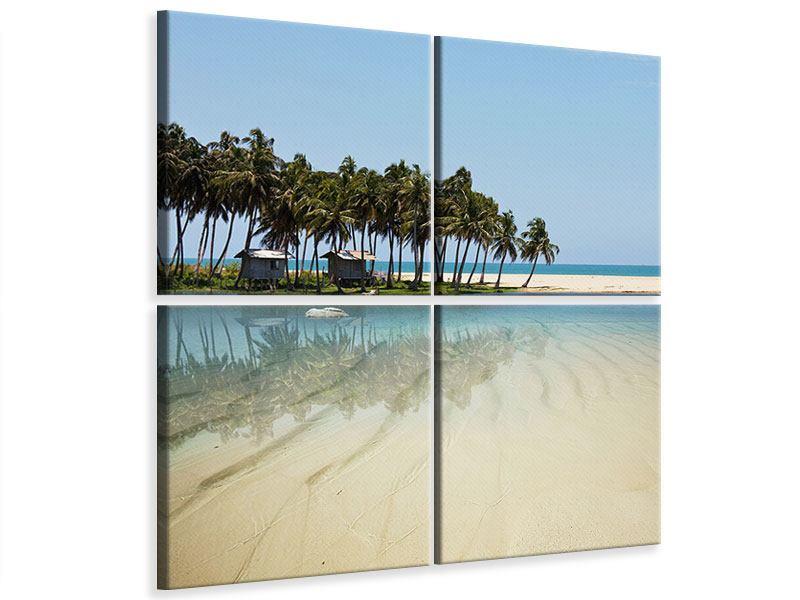 Leinwandbild 4-teilig Das Meer und die Insel