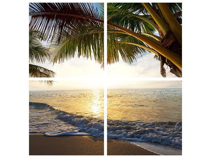 Leinwandbild 4-teilig Strandsicht
