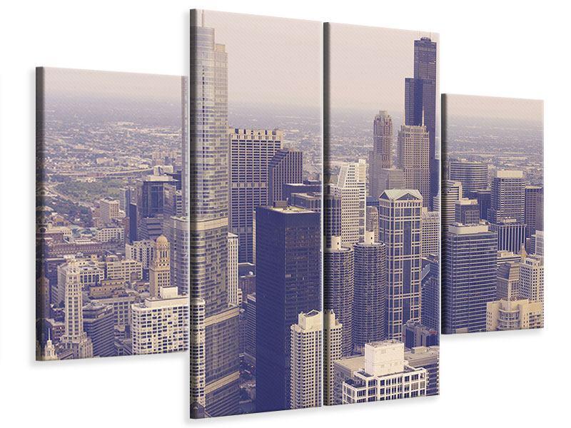 Leinwandbild 4-teilig Skyline Chicago in Sepia
