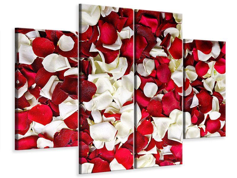 Leinwandbild 4-teilig Rosenblätter