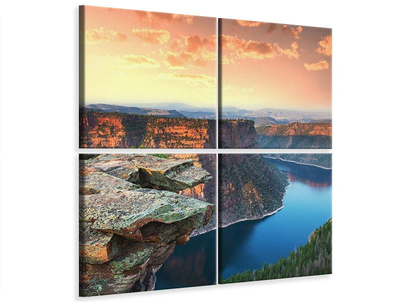 Leinwandbild 4-teilig Sonnenuntergang Rocky Mountains