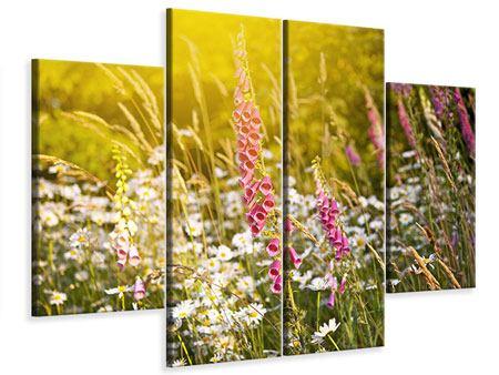 Leinwandbild 4-teilig Sommerliche Blumenwiese