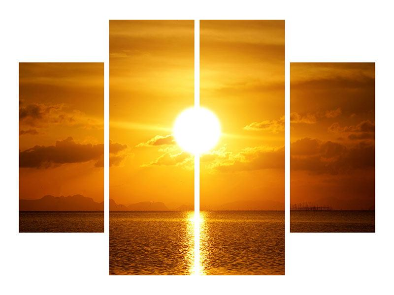 Leinwandbild 4-teilig Sonnenuntergang See