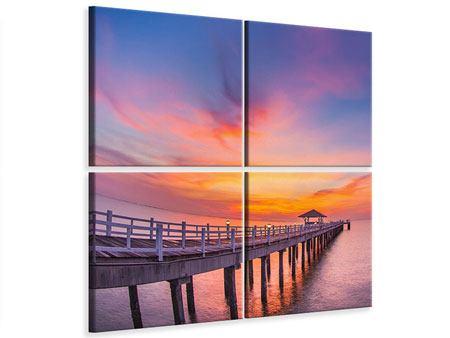 Leinwandbild 4-teilig Die romantische Brücke bei Sonnenuntergang