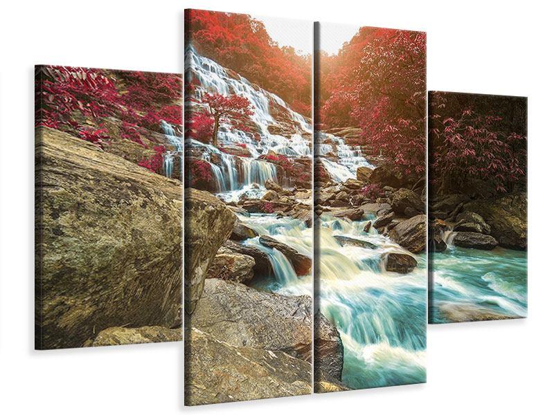Leinwandbild 4-teilig Exotischer Wasserfall