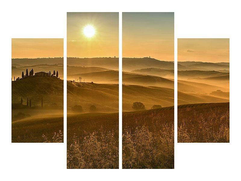 Leinwandbild 4-teilig Sonnenuntergang im Gebirge