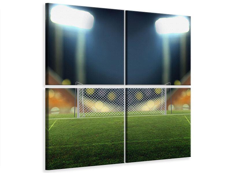 Leinwandbild 4-teilig Fussballtor