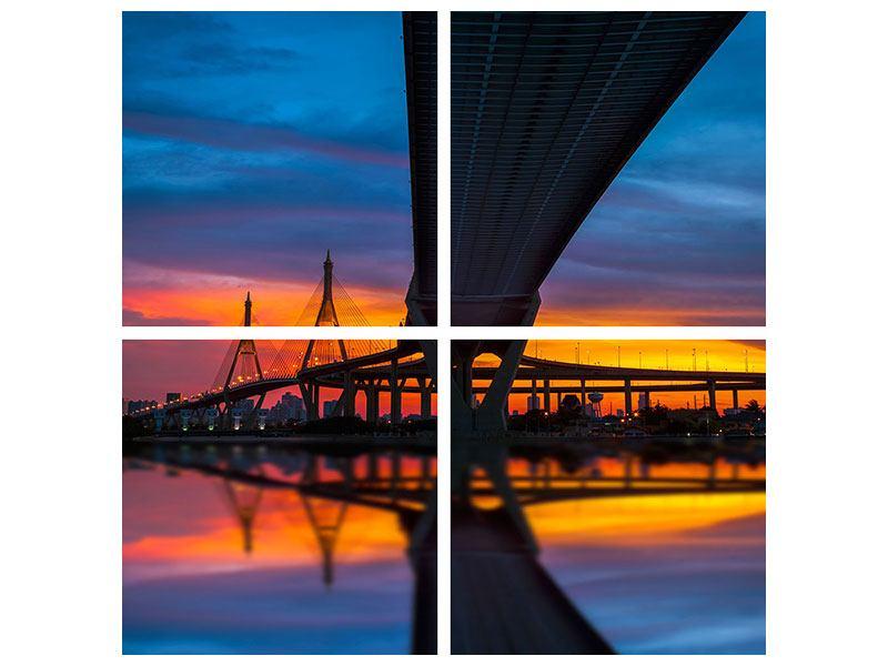 Leinwandbild 4-teilig Bhumiboll-Brücke bei Sonnenuntergang