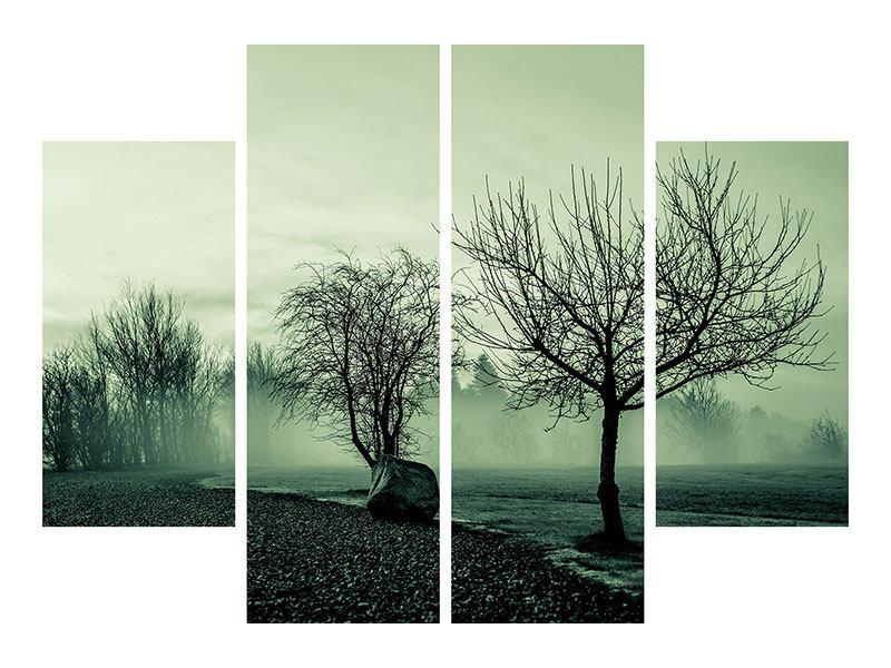 Leinwandbild 4-teilig Der Auwald im Nebel