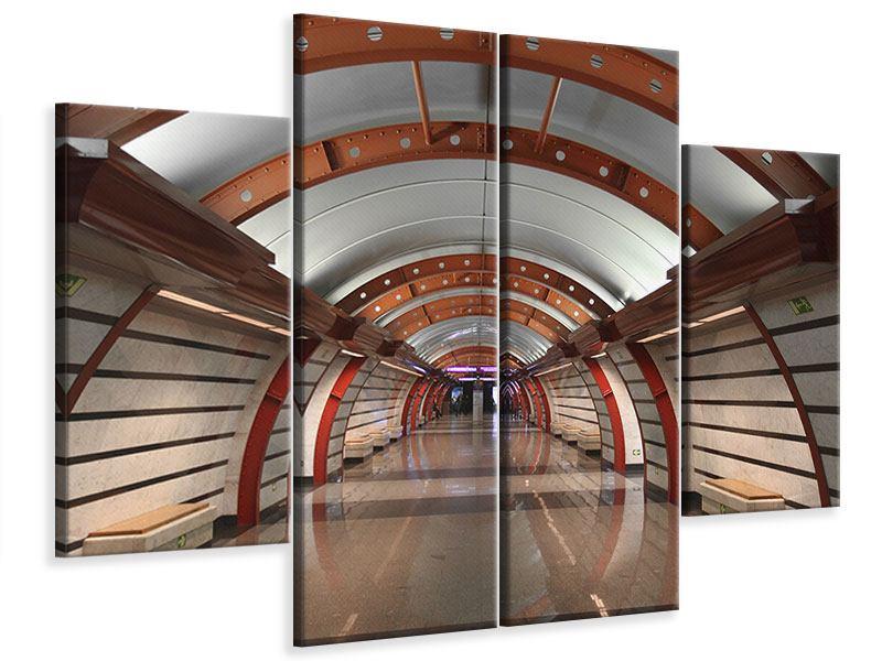 Leinwandbild 4-teilig U-Bahn Station