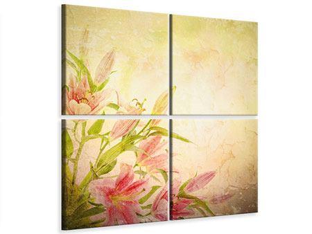 Leinwandbild 4-teilig Lilien-Gemälde