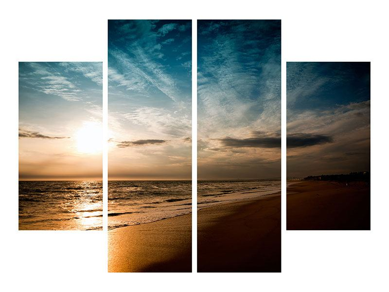 Leinwandbild 4-teilig Strandspaziergang