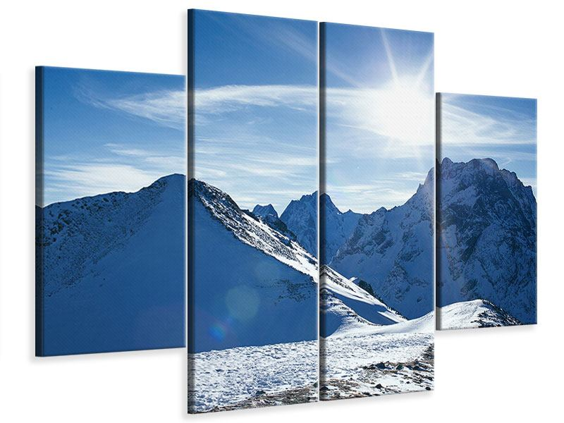 Leinwandbild 4-teilig Der Berg im Schnee