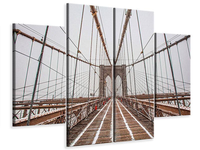 Leinwandbild 4-teilig Auf der Brooklyn Bridge