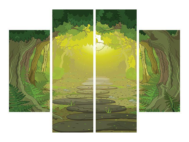 Leinwandbild 4-teilig Der Märchenwald