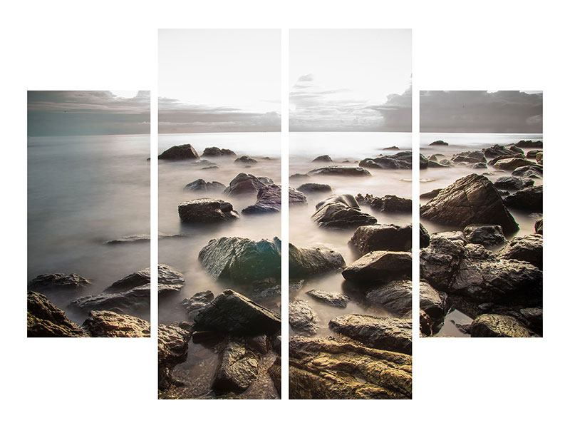 Leinwandbild 4-teilig Steine am Strand