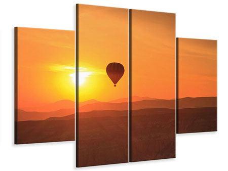 Leinwandbild 4-teilig Heissluftballon bei Sonnenuntergang