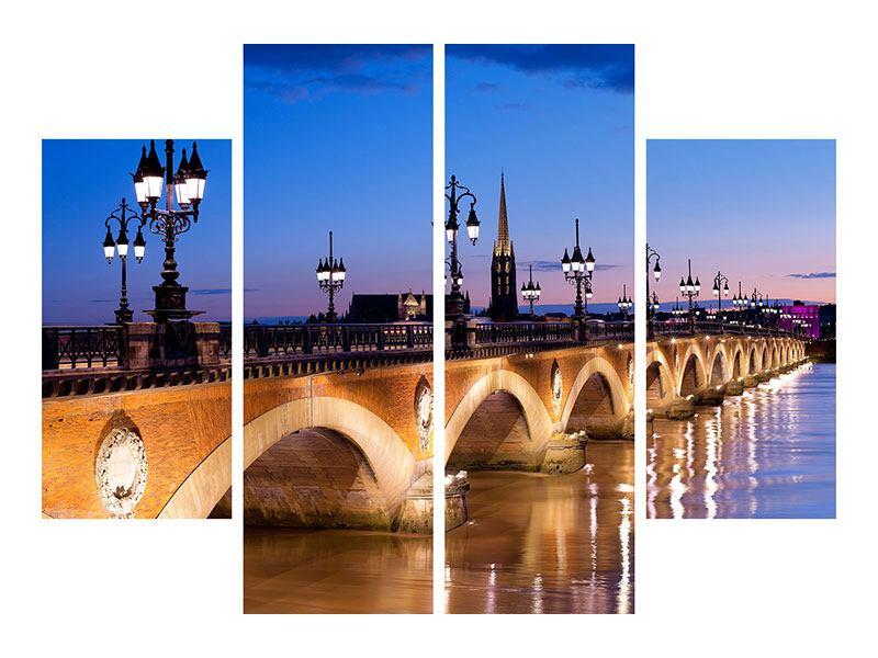 Leinwandbild 4-teilig Pont De Pierre bei Sonnenuntergang