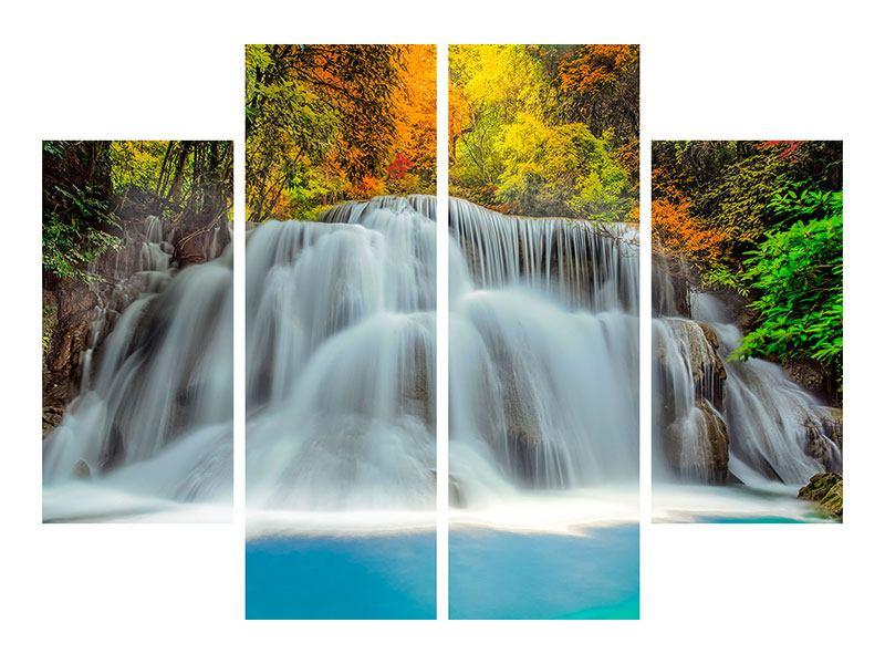 Leinwandbild 4-teilig Fallendes Gewässer