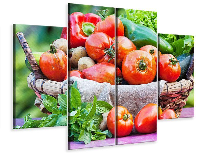 Leinwandbild 4-teilig Gemüsekorb