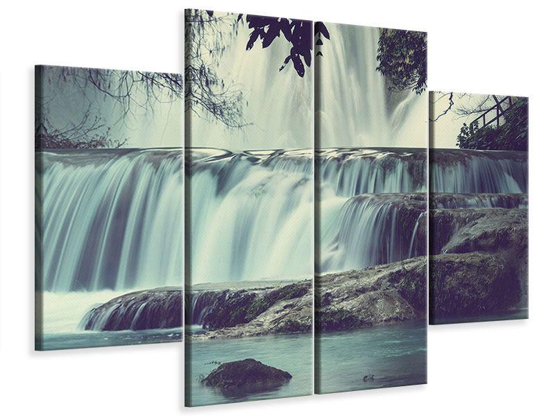 Leinwandbild 4-teilig Wasserfall Mexiko