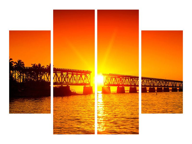 Leinwandbild 4-teilig Sonnenuntergang an der Brücke