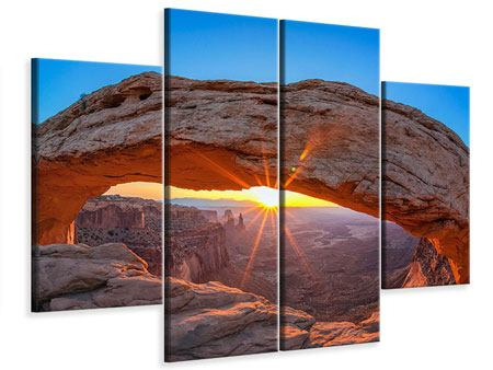 Leinwandbild 4-teilig Sonnenuntergang am Mesa Arch