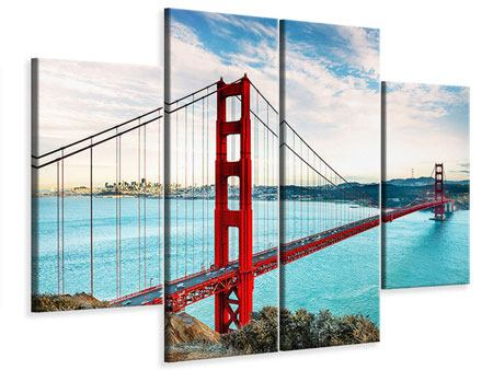 Leinwandbild 4-teilig Golden Gate Bridge