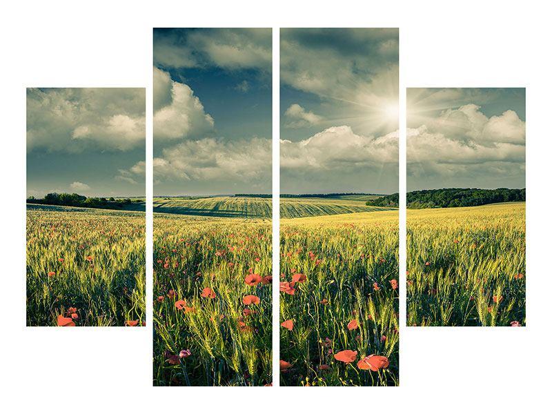 Leinwandbild 4-teilig Der Mohn im Weizenfeld