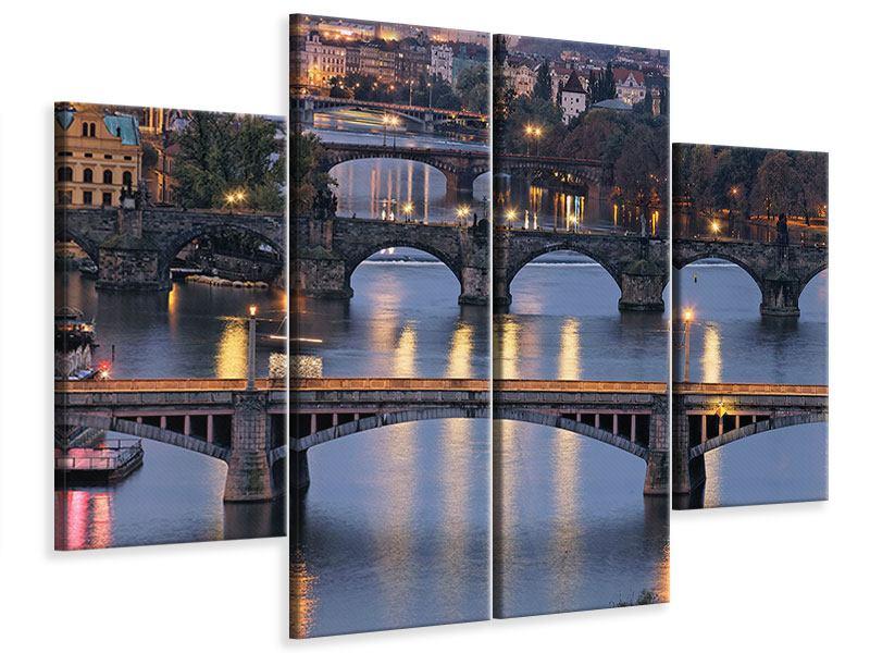 Leinwandbild 4-teilig Brücken in Prag