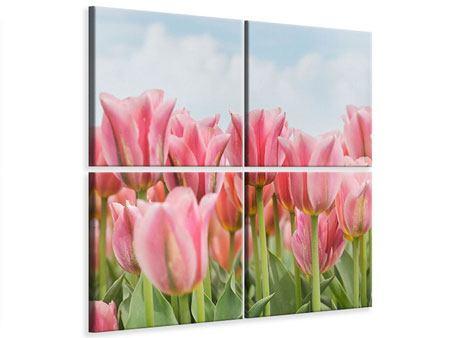 Leinwandbild 4-teilig Zarte Tulpen