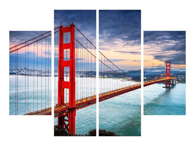 Leinwandbild 4-teilig Der Golden Gate Bridge bei Sonnenuntergang