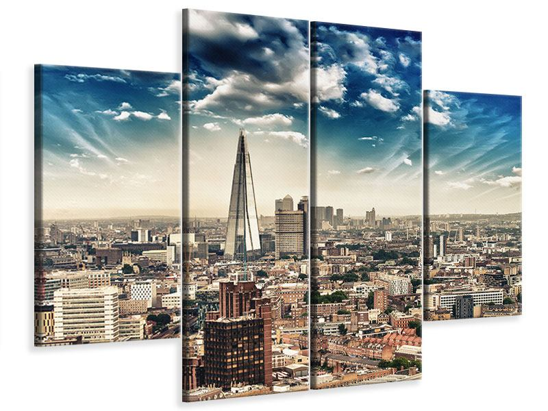 Leinwandbild 4-teilig Skyline Über den Dächern von London