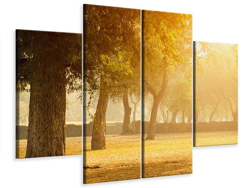Leinwandbild 4-teilig Romantik unter Bäumen