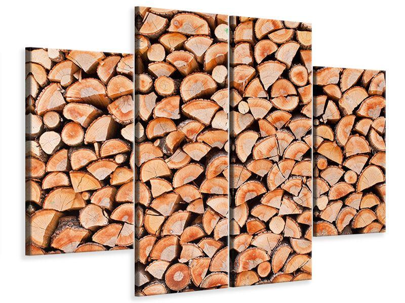 Leinwandbild 4-teilig Birkenstapel