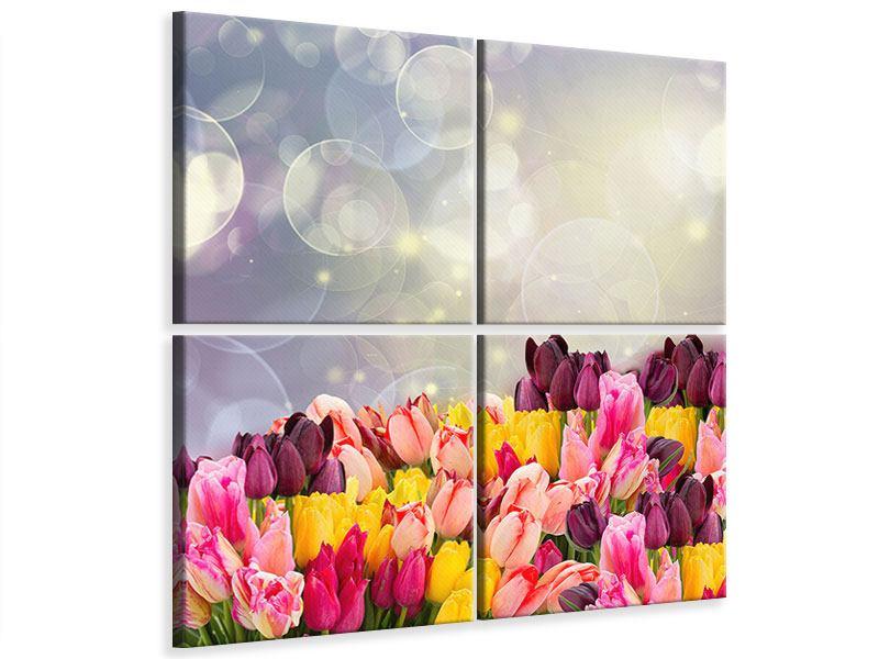 Leinwandbild 4-teilig Buntes Tulpenbeet im Lichtspiel