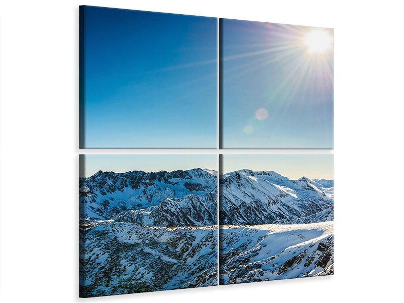 Leinwandbild 4-teilig Berge im Schnee