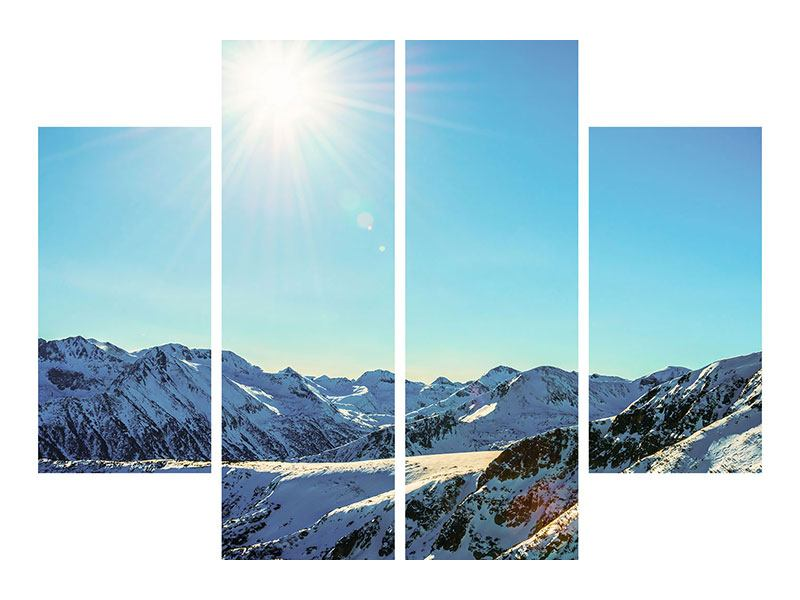 Leinwandbild 4-teilig Sonnige Berggipfel im Schnee