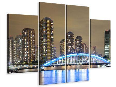 Leinwandbild 4-teilig Skyline Tokio in der Nacht