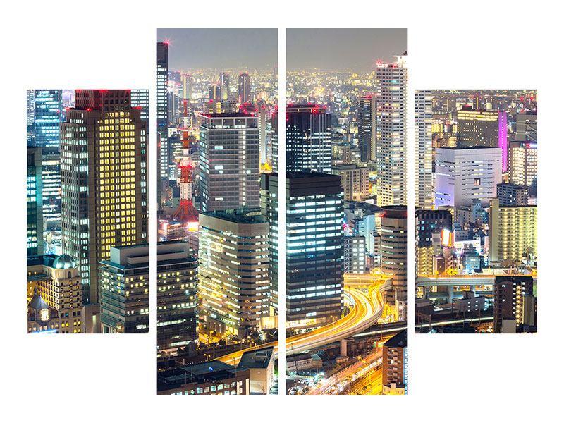 Leinwandbild 4-teilig Skyline Osaka im Lichtermeer