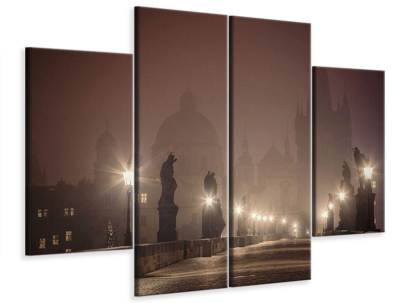 Leinwandbild 4-teilig Die Karlsbrücke bei Nacht