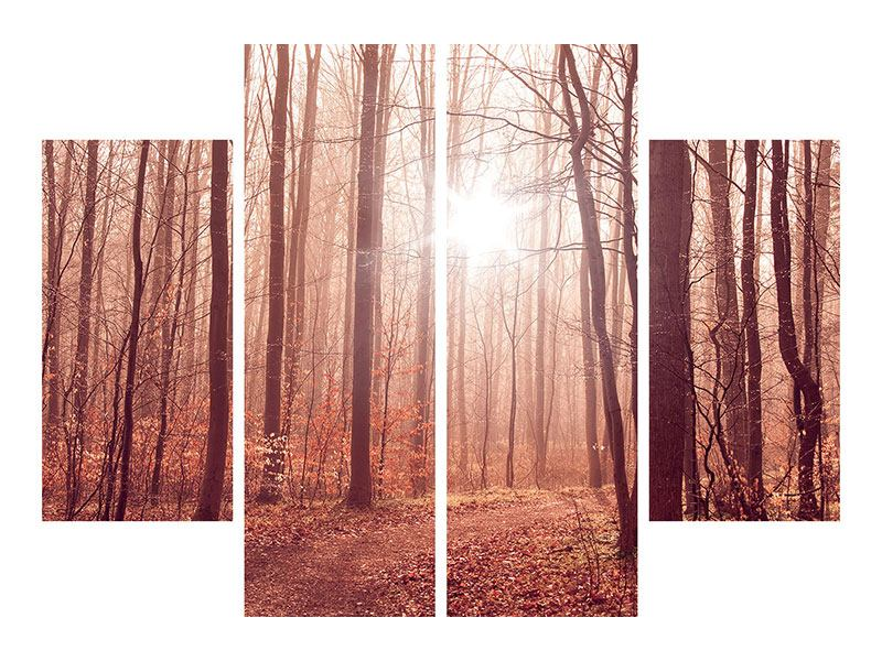 Leinwandbild 4-teilig Sonnenuntergang im Herbstwald