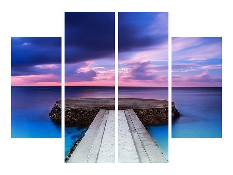 Leinwandbild 4-teilig Meditation am Meer