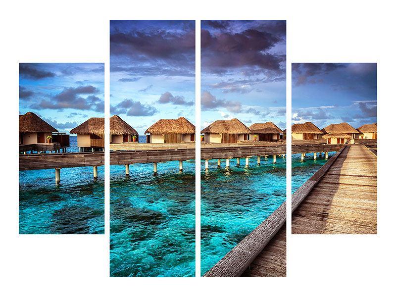 Leinwandbild 4-teilig Traumhaus im Wasser
