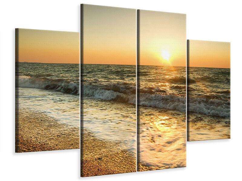 Leinwandbild 4-teilig Sonnenuntergang am Meer