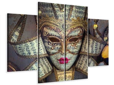 Leinwandbild 4-teilig Venezianische Maske