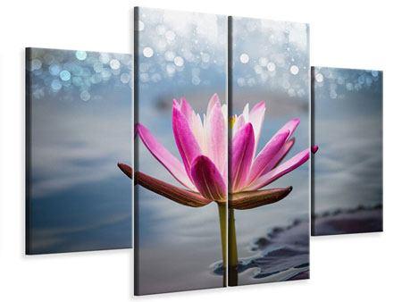Leinwandbild 4-teilig Lotus im Morgentau